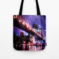 new york Tote Bags featuring New York New York by Whimsy Romance & Fun