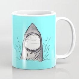 Summer Shark Hand Drawn and Painted on Teal Coffee Mug