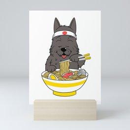 Scottish Terrier Eating Ramen  Mini Art Print
