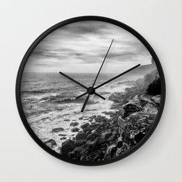 Rocky Cliffs B+W Wall Clock