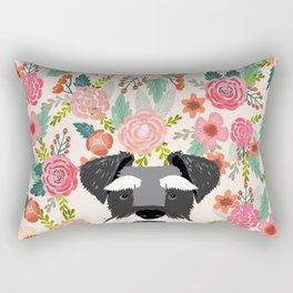 Schnauzer dog head floral background flower schnauzers pet portrait Rectangular Pillow