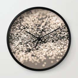 Sparkling Sepia Glitter #1 #shiny #decor #art #society6 Wall Clock