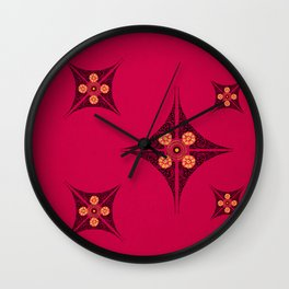 Pata Pattern in Black on Pink Wall Clock