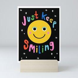 Finna - happy face smiling wacka memphis retro 80's positivity art print Mini Art Print
