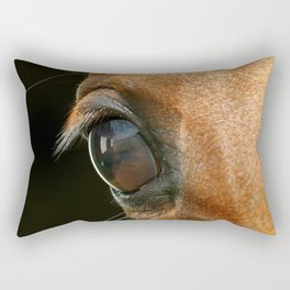 Horse eye on black background Rectangular Pillow
