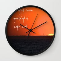 cape cod Wall Clocks featuring Goodnight Cape Cod by KarenHarveyCox