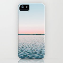 Pink, Blue, Landscape, Water, Nature, Modern art, Scandinavian, Art, Minimal, Wall art iPhone Case