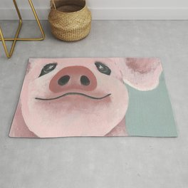 Original Painting - Farm Friends - Baby Pig - Cute Pig Painting Rug