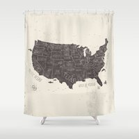 usa Shower Curtains featuring USA by Mike Koubou