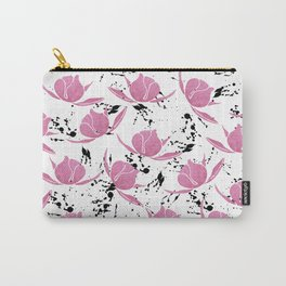Pink black watercolor paint splatters floral Carry-All Pouch