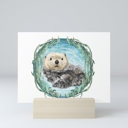 Sea Otter in Kelp Wreath Mini Art Print
