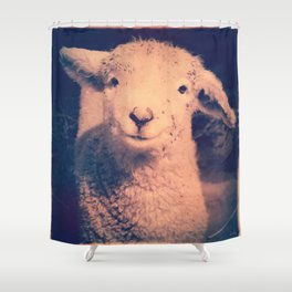 Innocence (Smiling White Baby Sheep) Shower Curtain