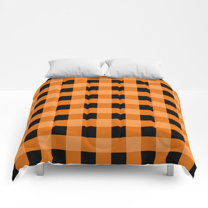 Orange And Black Buffalo Check Comforters By