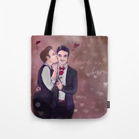 klaine Tote Bags featuring Love is Love by Ines92