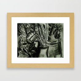 Expressionist Still Life in Charcoal, Flowers--Art Prints Framed Art Print