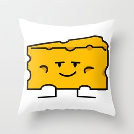 Block of Cheese mac dairy milk protein fat wedge Throw Pillow