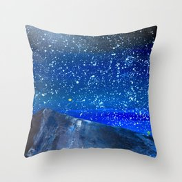 Moon Rising as an orange dot in the Great Sand Dunes National Park, USA travel Throw Pillow