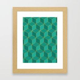 AMAZONITE GREEN CUBE PATTERN (Gold Lined) Framed Art Print