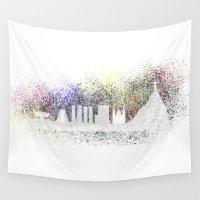rio de janeiro Wall Tapestries featuring Abstract Rio de Janeiro skyline by siloto