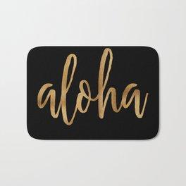 Aloha  - gold on black Bath Mat