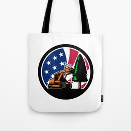 American Forestry Mulcher USA Flag Retro Tote Bag