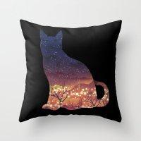 space cat Throw Pillows featuring Space Cat by dan elijah g. fajardo