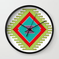 kilim Wall Clocks featuring Persian Kilim  - Plain Background by Katayoon Photography & Design
