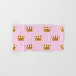 Princess Charlotte Rose Pink with Gold Crowns Hand & Bath Towel