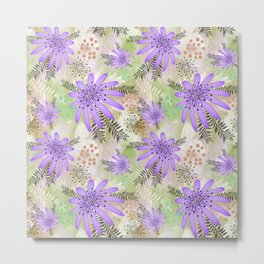 Purple flowers on watercolor background . Metal Print