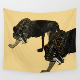 Black wolf totem Wall Tapestry