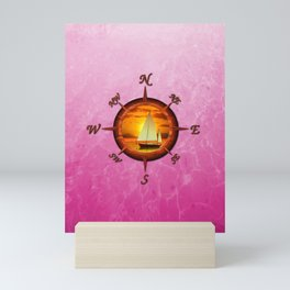 Sailboat And Compass Rose Pink Mini Art Print