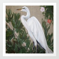 crane Art Prints featuring Crane by Lark Nouveau Studio