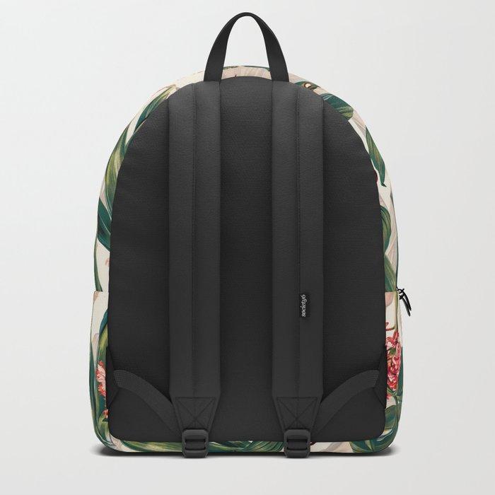 Tropical Leaf Pattern Backpack