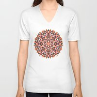 quilt V-neck T-shirts featuring Firework Quilt by Little Things Studio