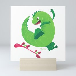 Skateboard Dinosaur Mini Art Print