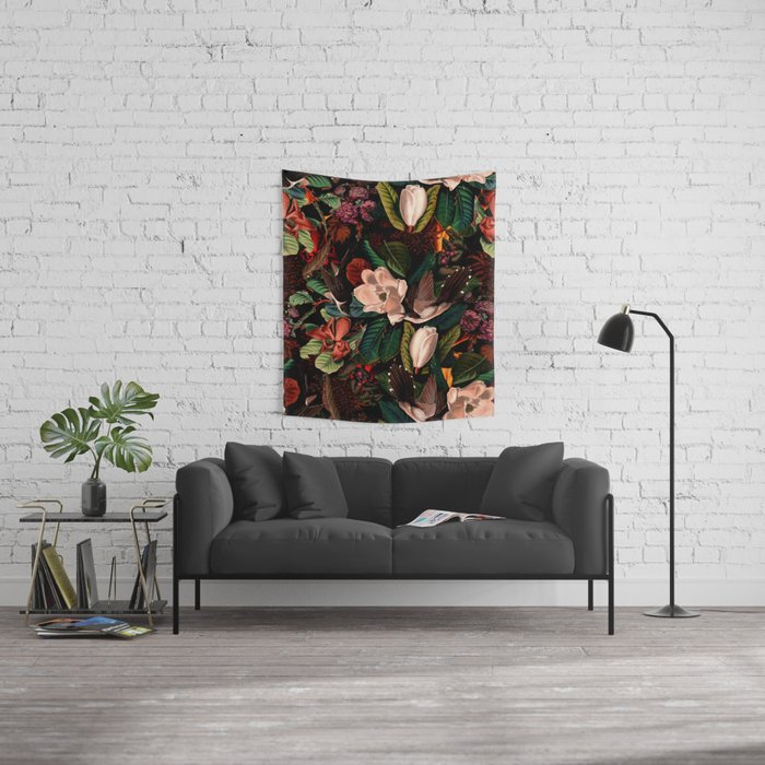 FLORAL AND BIRDS XIV Wall Tapestry