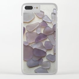 Genuine Purple Sea Glass Collection Clear iPhone Case