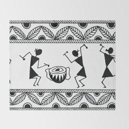 Warli Art Throw Blanket