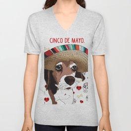 Cinco de Beagle Dog Unisex V-Neck
