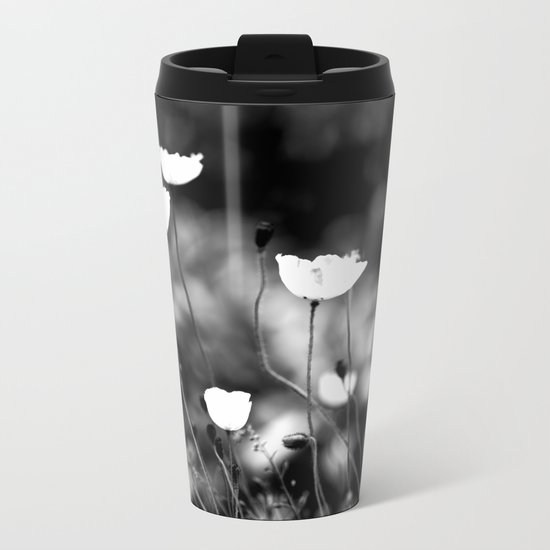 Flowers in Black and White Metal Travel Mug