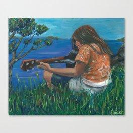 Playing ukulele Canvas Print