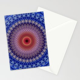 Blue, lilac and orange mandala Stationery Cards