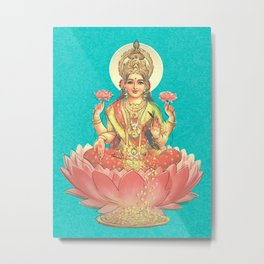 Lakshmi, Goddess of Love (Turquoise) Metal Print