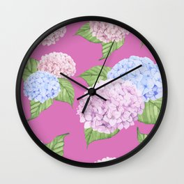 Pink Hydrangeas Wall Clock