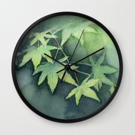 Japanese Maple Watercolor Green Leaves Tree Branch Nature Wall Clock