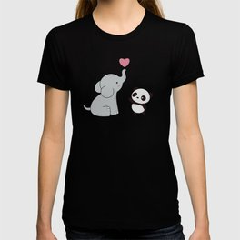 Kawaii Cute Elephant and Panda T-shirt