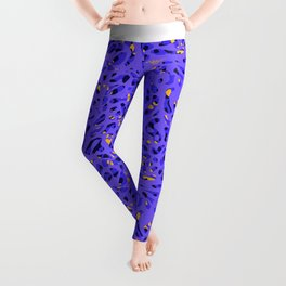 neon violet & blue abstract pattern Leggings
