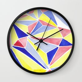 Watercolor colorful beach triangles. Watercolor geometry 3D effect. Wall Clock