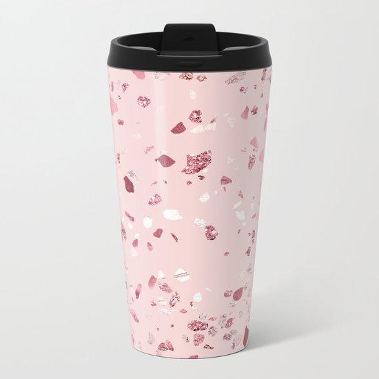 Pink Quartz Glitter Terrazzo Metal Travel Mug