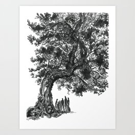 Under the Lighting-Blasted Tree Art Print
